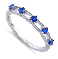 Sterling Silver Blue Sapphire Five Round Stones CZ Ring