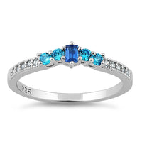 Sterling Silver Blue Spinel & Aqua CZ Ring
