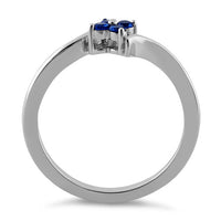 Sterling Silver Blue Spinel Flower CZ Ring