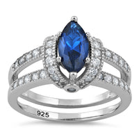 Sterling Silver Blue Spinel Marquise CZ Ring