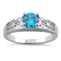 Sterling Silver Blue Topaz Round Cut Engagement CZ Ring