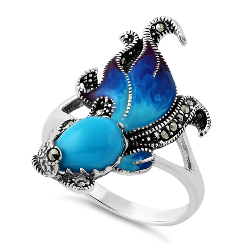 Sterling Silver Simulated Turquoise Fish Ghost Marcasite Ring