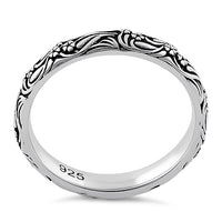 Sterling Silver Bold Flowers & Vines Eternity Ring