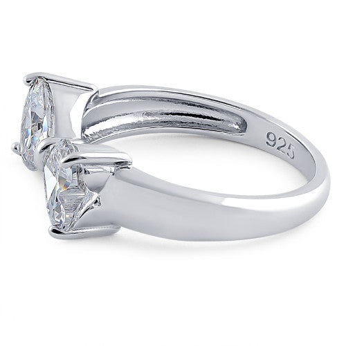 Sterling Silver Bow Heart Cut Clear CZ Ring