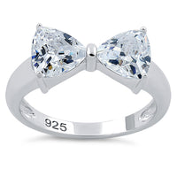 Sterling Silver Bow Trillion Cut Clear CZ Ring