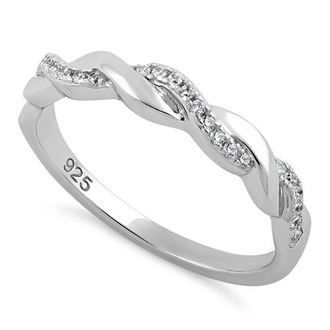 Sterling Silver Braided Clear CZ Ring