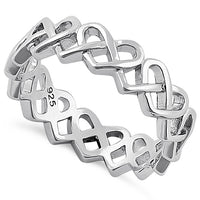 Sterling Silver Braided Hearts Eternity Ring
