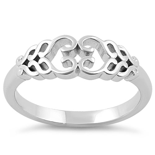 Sterling Silver Braided Hearts Ring