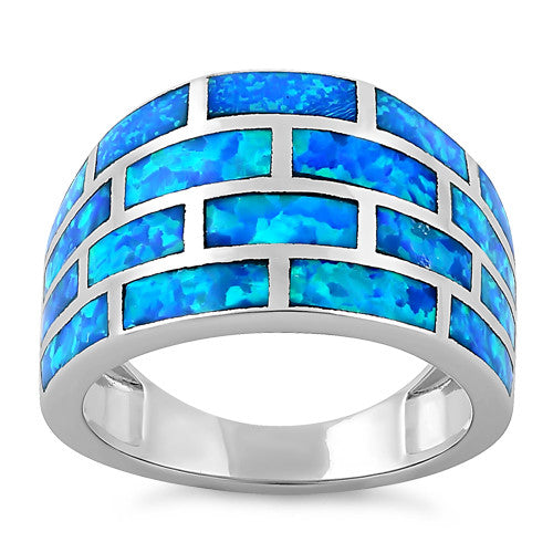 Sterling Silver Bricks Lab Opal Ring
