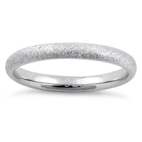 Sterling Silver Brushed Wedding Band Ring 2.5mm