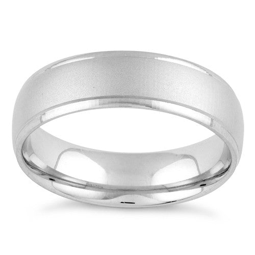 Sterling Silver Brushed Wedding Band Ring