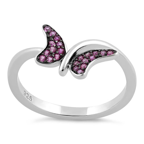 Sterling Silver Buttefly Ruby CZ Ring