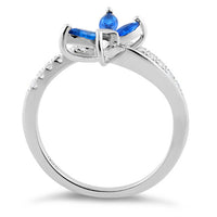 Sterling Silver Butterfly Blue Spinel CZ Ring