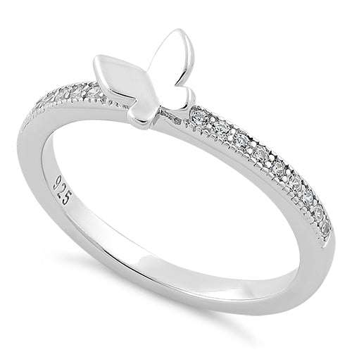 Sterling Silver Butterfly CZ Ring
