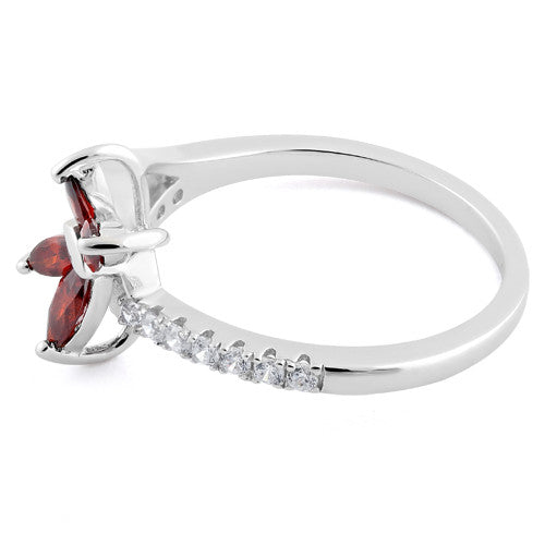 Sterling Silver Butterfly Garnet CZ Ring