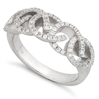Sterling Silver C Pave CZ Ring