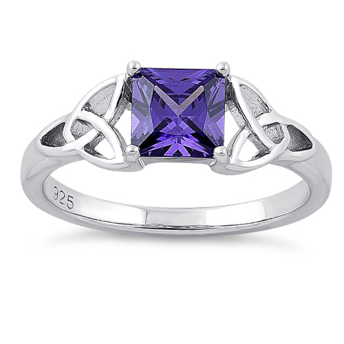 Sterling Silver Celtic Amethyst Princess Cut CZ Ring