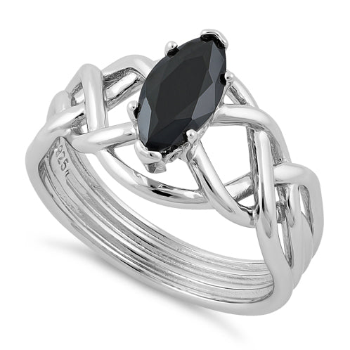 Sterling Silver Celtic Black Marquise CZ Ring