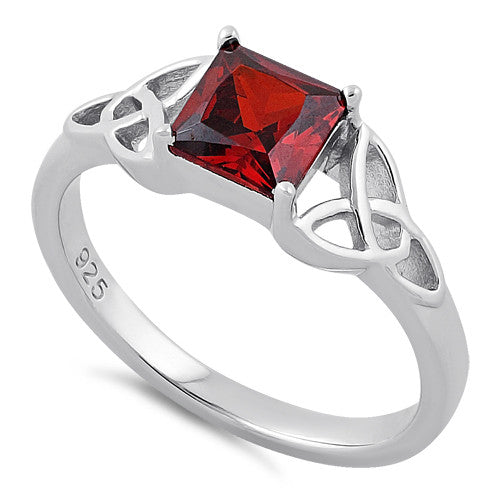 Sterling Silver Celtic Garnet Princess Cut CZ Ring