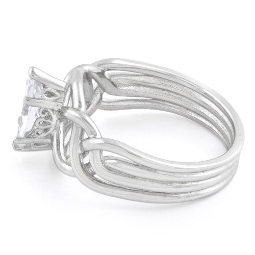 Sterling Silver Celtic Marquise CZ Ring