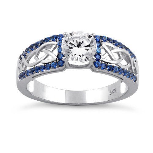 Sterling Silver Celtic Pave Blue CZ Ring