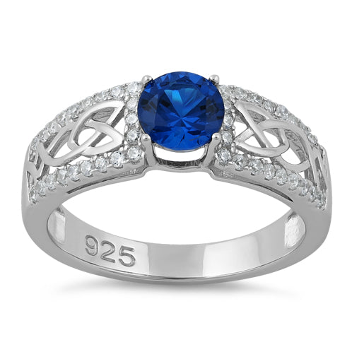 Sterling Silver Celtic Pave Blue Spinel Round CZ Ring
