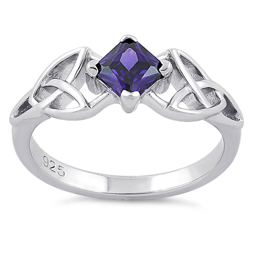 Sterling Silver Celtic Princess Cut Amethyst CZ Ring