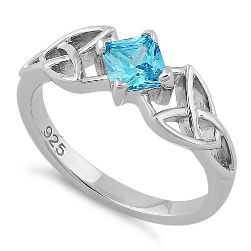 Sterling Silver Celtic Princess Cut Blue Topaz CZ Ring