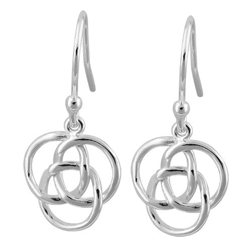 Sterling Silver Celtic Triquetra Hook Earrings