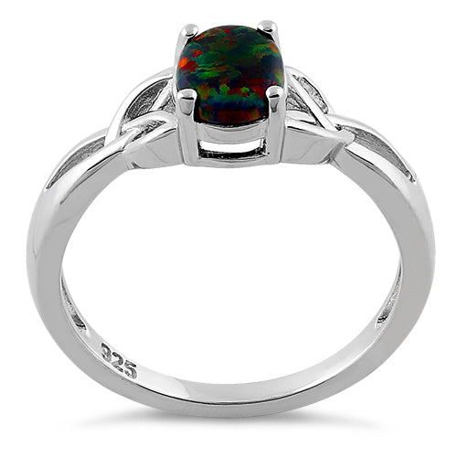 Sterling Silver Center Stone Charmed Black Lab Opal Ring