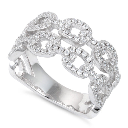 Sterling Silver Chain Link CZ Ring