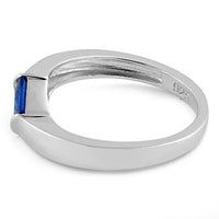 Sterling Silver Channel Bar Square Blue Spinel CZ Ring