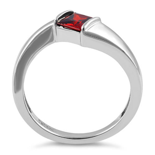 Sterling Silver Channel Bar Square Garnet CZ Ring