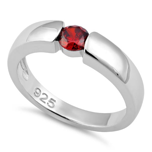 Sterling Silver Channel Bezel Garnet CZ Ring