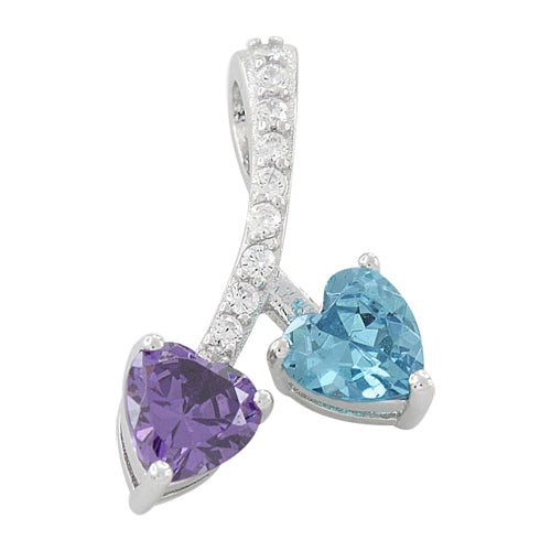 Sterling Silver Cherry Hearts Amethyst/Blue Topaz CZ Pendant