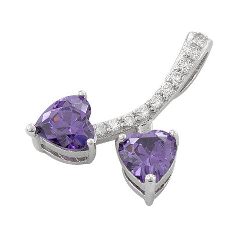 Sterling Silver Cherry Hearts Amethyst CZ Pendant