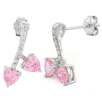 Sterling Silver Cherry Hearts Pink CZ Earrings