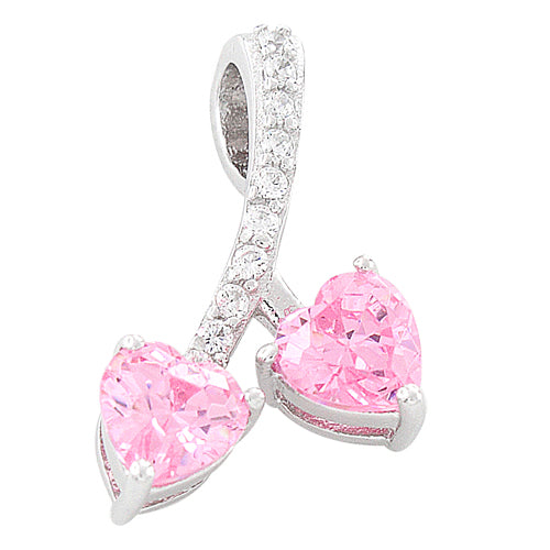 Sterling Silver Cherry Hearts Pink CZ Pendant