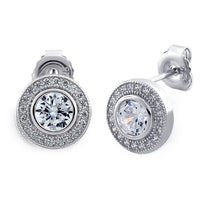 Sterling Silver Circle Stud CZ Earrings