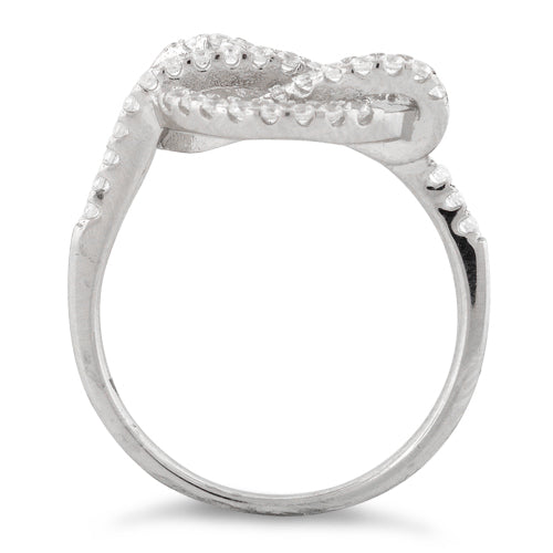 Sterling Silver Circle Twisted Pave CZ Ring