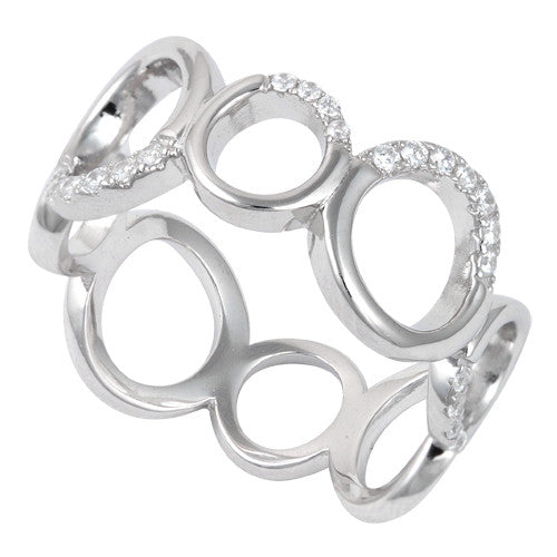 Sterling Silver Circles Eternity CZ Ring