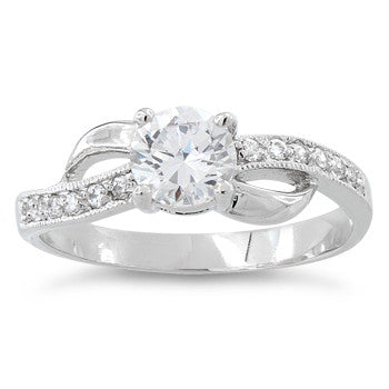 Sterling Silver Clear CZ Engagement Ring