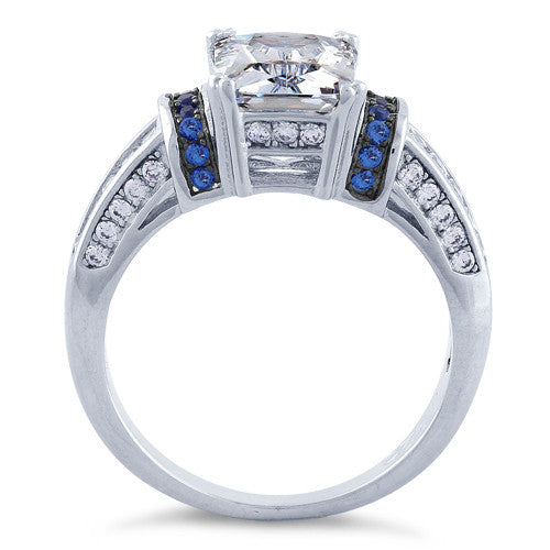 Sterling Silver Clear Emerald Cut Blue CZ Ring