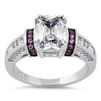 Sterling Silver Clear Emerald Cut Ruby CZ Ring
