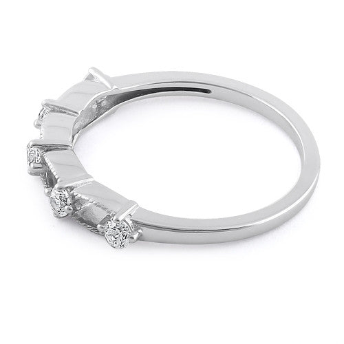 Sterling Silver Clear Five Round Stones CZ Ring