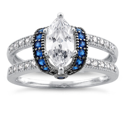 Sterling Silver Clear Marquise Blue CZ Ring