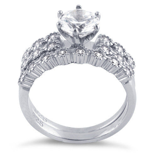 Sterling Silver Clear Round Cut Engagement CZ Set Ring