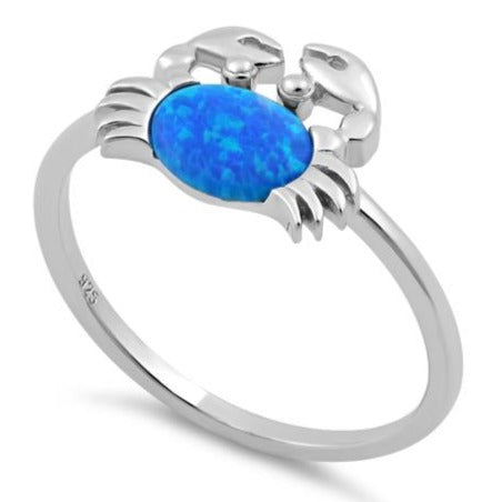 Sterling Silver Crab Blue Lab Opal Ring
