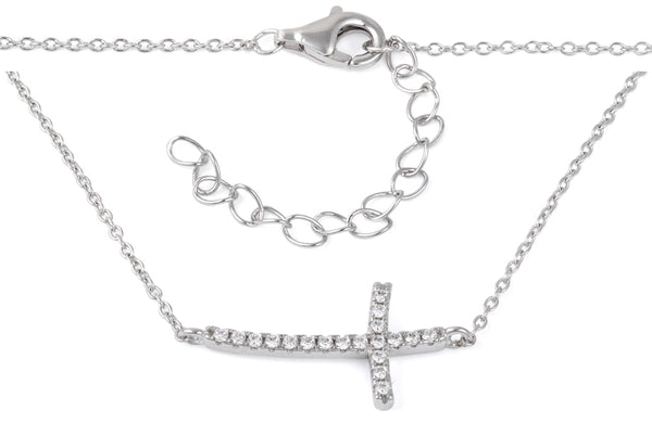 Sterling Silver Cross CZ Necklace
