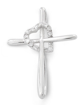 Sterling Silver Cross Heart CZ Pendant